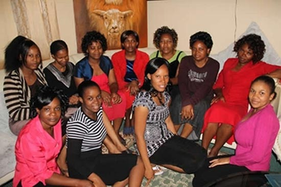 Pastor Robert Martin Gumbura's 11 wives at the house they share in Marlborough