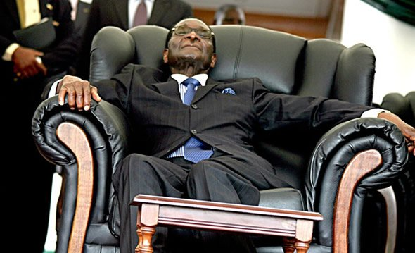 Commander in Sleep: President Robert Mugabe