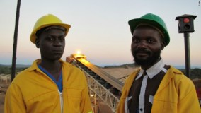 Two local workers at a diamond mine owned by Marange Resources in Zimbabwe