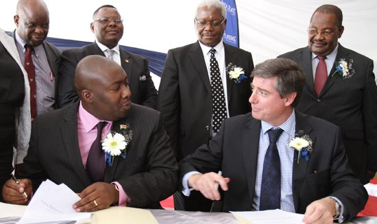 Former Empowerment Minister Savior Kasukuwere and Dave Brown from Zimplats who were arm twisted into ceding shares