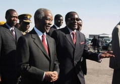 Close Buddies: Thabo Mbeki seen here with President Mugabe