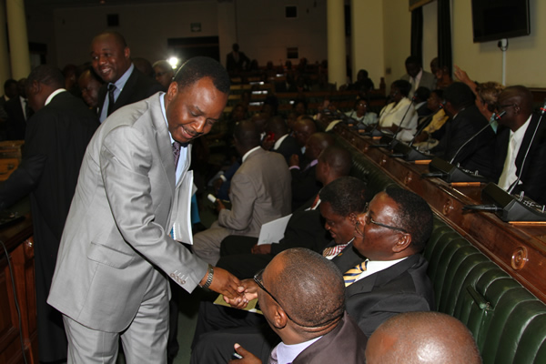 Mabvuku Tafara legislator James Maridadi greeting other MP's in Parliament (Picture by NewsDay)