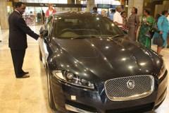 Gift car . . . Manyeruke admiring the Jaguar XF that he is yet to receive