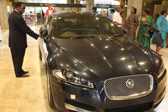 Gift car . . . Manyeruke admiring the Jaguar XF that he is yet to receive