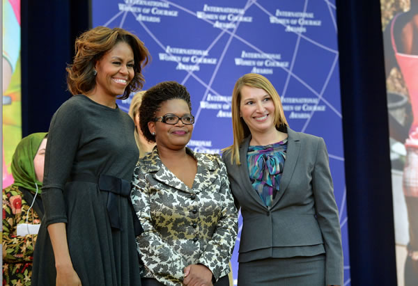 United States First Lady Michelle Obama with 2014 IWOC Awardee Beatrice Mtetwa from Zimbabwe