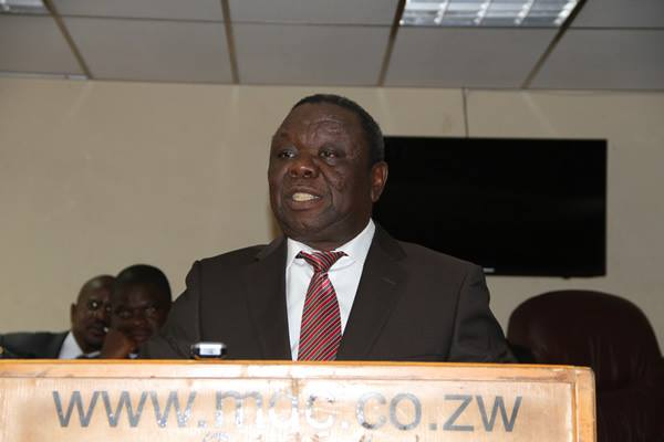 Morgan Tsvangirai addressing press conference on Tuesday