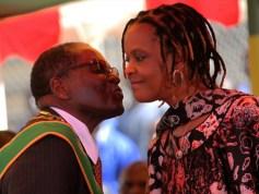 President Mugabe kisses his wife Grace Mugabe