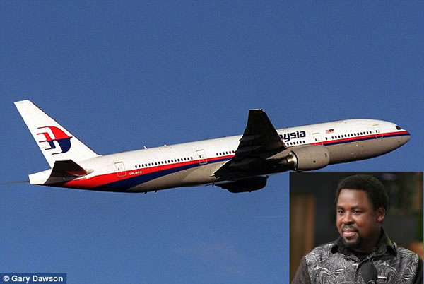 "TB Joshua says Malaysia plane ""between Indonesia and the Indian Ocean"""