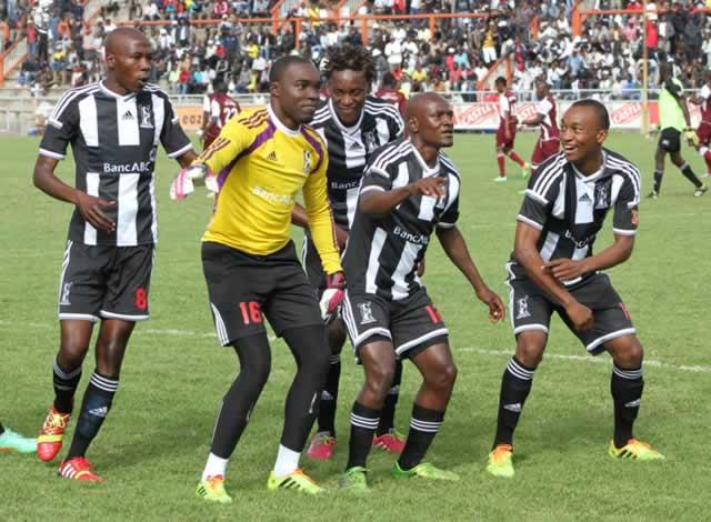 Bosso players Mthulisi Maphosa (left), Munyaradzi Diya, Charles Sibanda, Bruce Kangwa and Milton Ncube celebrate their team's first goal scored by their goalkeeper in the eighth minute at Barbourfields Stadium