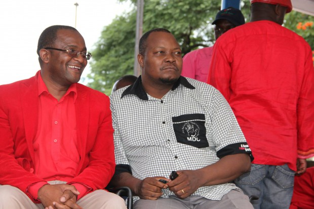 Douglas Mwonzora and Job Sikhala at Bulawayo MDC rally last month