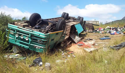 What remains of the Vazungu bus which overturned three times and killed six people when its driver failed to negotiate a sharp curve in Mutasa district