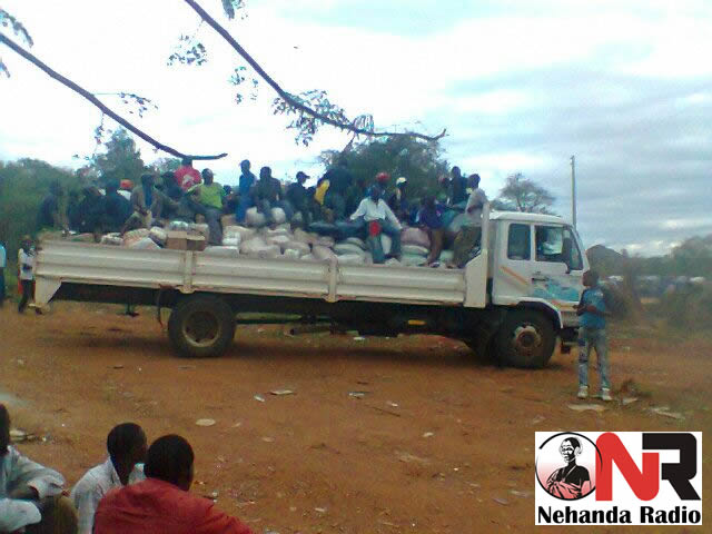 Truck with food at Chingwizi holding camp