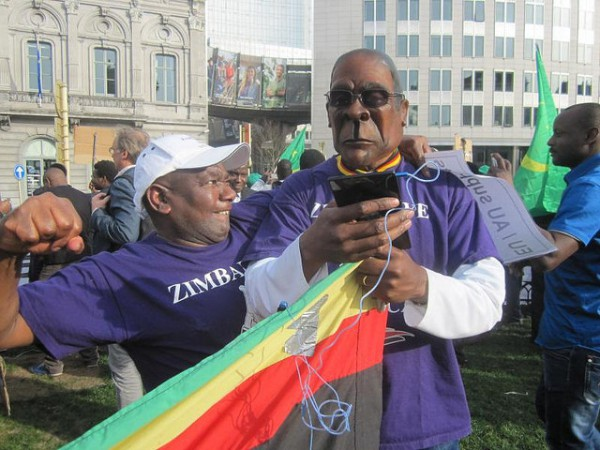 Zimbabwe Vigil members demonstrating in Brussels on the sidelines of on an EU-Africa Summit