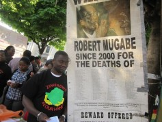 Members of the Zimbabwe Vigil demonstrating in London