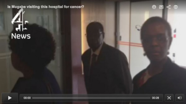 Robert and Grace Mugabe entering a private hospital in Singapore this week