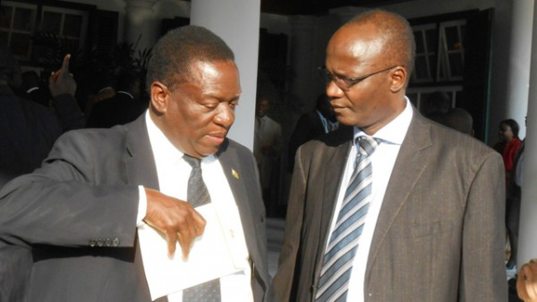 Justice minister Emmerson Mnangagwa and Information minister Jonathan Moyo