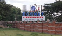 Outside the Econet Wireless headquarters in Harare