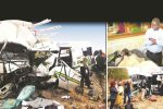 The wrecks of the Sprinter bus and Hino truck which collided along the Masvingo-Beitbridge Road yesterday morning