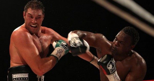 Tyson Fury gets hit by Dereck Chisora