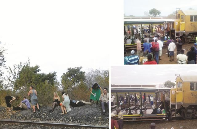 The train crash victims and onlookers at the scene of the accident on Tuesday afternoon