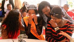 BITTER END: From left Pamela Hakunavanhu and Nyarai Bwanya, members of the Miss Zimbabwe Trust console dethroned Miss Zimbabwe Thabiso Phiri and chairperson Mary Chiwenga at the crowing of new Miss Zimbabwe. Pic: Annie Mpalume