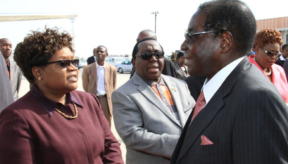 Joice Mujuru, Simon Khaya Moyo and Robert Mugabe