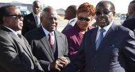 File Photo: President Mugabe bidding farewell to Simon khaya Moyo, Didymus Mutasa and Marriam Chikukwa at Harare Airport