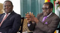 Tsvangirai and Mugabe during the coalition government