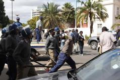 Police fire teargas at protestors in this file photo