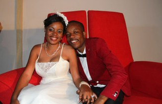 WEDDING BLISS. . . Above, Sharon Macheso poses with his husband Kudakwashe Munetsi at their wedding at Pakare Paye Arts Centre in Norton