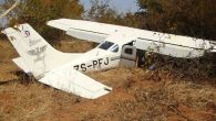 The wreckage of a Cessna plane that crashed near Lupinyu Business Centre soon after take-off from Victoria Falls International Airport yesterday