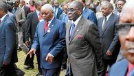 Mozambican President Armando Guebuza (left) with President Robert Mugabe