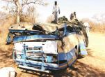 The bus which overturned at Mathetshaneni village in Nkayi on Saturday killing two people (Picture by Chronicle)