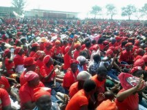 Part of the crowd of MDC-T supporters gathered inside Mucheke Stadium in Masvingo