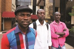 AGGRIEVED: Itai Dzamara (left) and fellow activists of the Occupy Africa Unity Square protest, have vowed to continue with their sit in until their demands are met by President Robert Mugabe. (Picture by Daily News)