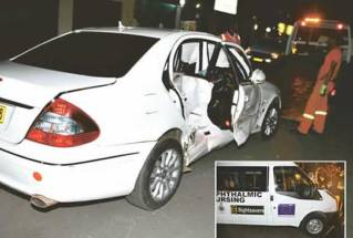 Mnangagwa's Mercedes Benz that was hit by a Ford Transit van (inset) along Herbert Chitepo Avenue in Harare yesterday