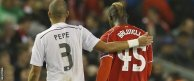 Pepe and Mario Balotelli walked off together at half-time and swapped shirts