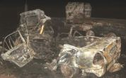The wrecks of the car and truck which collided head-on along the Bulawayo-Beitbridge highway