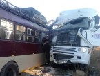 Aftermath: The bus and the haulage truck that rammed into each other