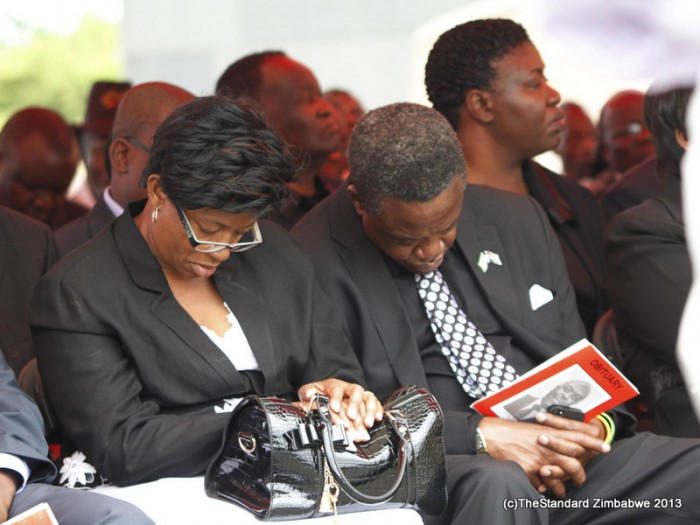 Minister Webster Shamu and his wife Constance doze off during President Robert Mugabe's speech (Picture by The Standard)