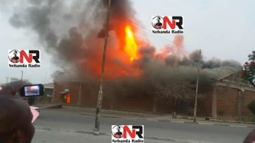 Customs Warehouse at Beitbridge Border Post on fire (Picture by Nehanda Citizen Reporters)
