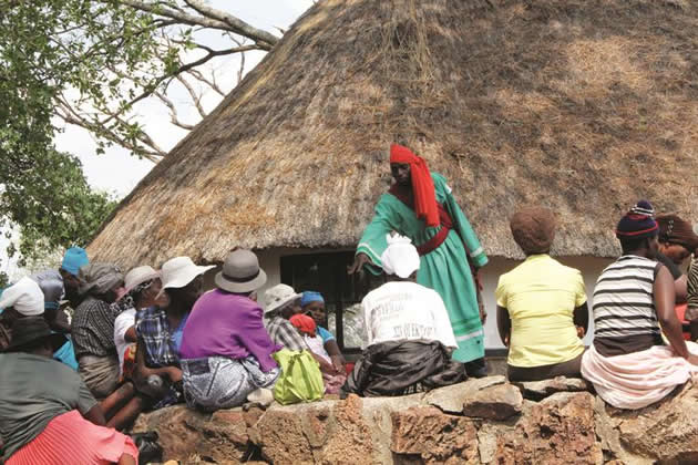 A tsikamutanda addresses Dromoland villagers in Inyathi during the cleansing ceremony yesterday