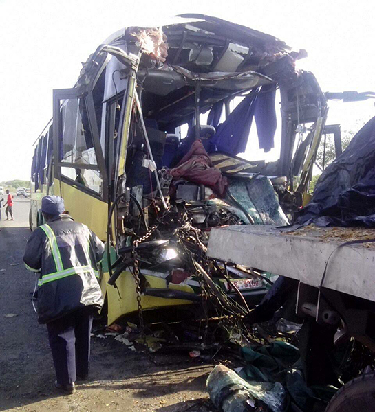 The Mandaza bus which rammed into a stationery truck killing the two drivers