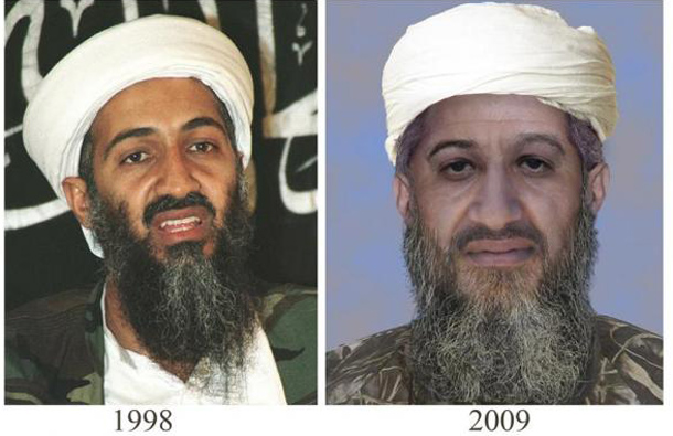 "The U.S. Department of State and FBI released this ""age progressed"" photograph of Osama at the time"