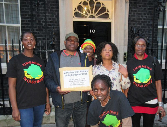The Zimbabwe Vigil delivering a petition at Number 10 Downing Street
