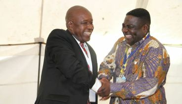 Christopher Mutsvangwa (left) is congratulated by presiding officer Major General Engelbert Rugeje after being nominated unopposed during the War Veterans Congress at the Great Zimbabwe Hotel in Masvingo (Picture by Tawanda Mudimu)