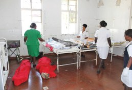 Nurses at Kwekwe District Hospital attend to those injured at the crusade while bodies await collection