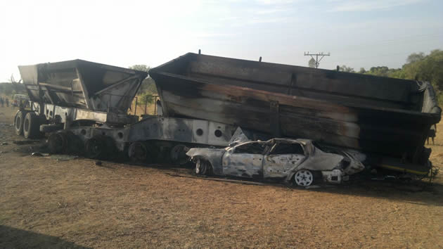 Three burnt to death after Mercedes Benz crashes into haulage truck