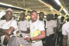 Young Warriors clear formalities at Harare International Airport yesterday before they left the capital for Morocco where they will play an international friendly tomorrow