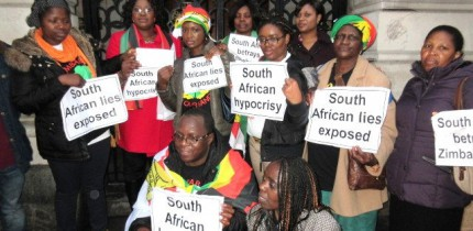 Zimbabwe Vigil activists outside the South African High Commission in London